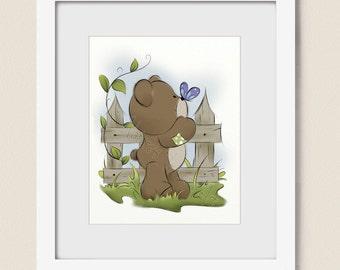 8 x 10  Artwork for Children, Girls Nursery Wall Art, Girls Room Art, Childrens Art Print, Teddy Bear Art, Wall Decor for Nursery  (446)