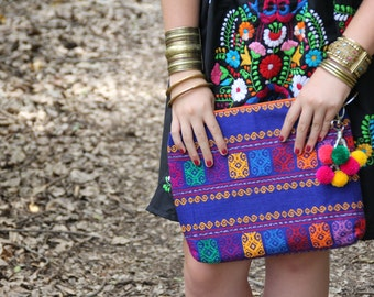 WAs 83 now 69 Cobalt blue and Multi Colored Mexican textile hand woven clutch
