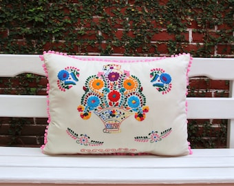 Pink Basket Puebla Collection  Sham created from huipil kaftans