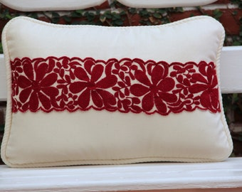 Lumbar Pillow with hand embroidered textiles accents and cotton canvas