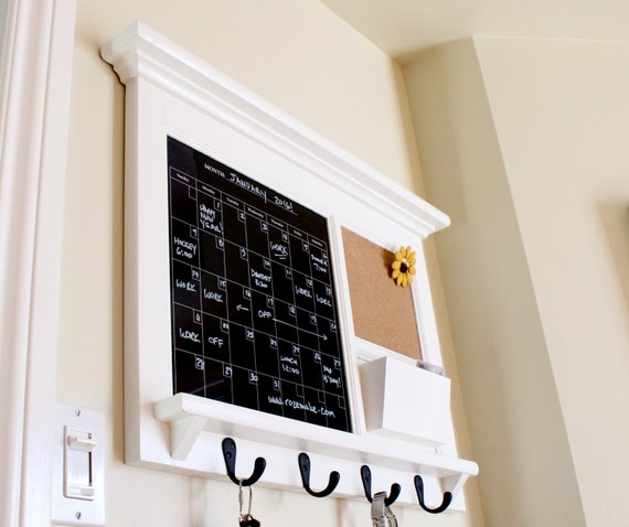 Kitchen Office Mail Family Organizer With Black Dry Erase