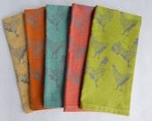 Cloth Napkins, Hand Printed Chicken Illustration, Mutli Color Organic Cotton, Set of 5