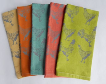 Cloth Napkins, Hand Printed Chicken Illustration, Mutli Color Organic Cotton, Set of 5