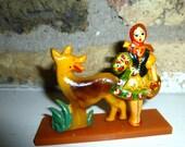 Little Red Riding Hood. Vintage Bakelite Souvenir of Eastern European.  Handpainted Girl and Wolf Dog Figurine.  1930s.  Pre-War.