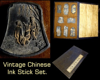 Antique Set of 8 Chinese Ink Stones. Gilded Early 20th Century Highly Detailed Presentation Box. Nice Asian or Calligraphy Decorative Gift.
