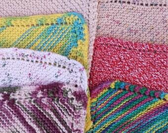 Hand Knit 9ins x 9ins Cotton Dishcloths by the Dozen MIX Goddies Bag