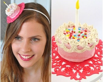 Birthday Headband Cake, Adult Party Hats, Birthday Cake headband,Cake Birthday Hat,Birthday Party Hats,Pink Birthday hair Accessories Adult