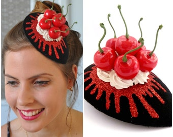 Cherries Fascinator ,Cherry Headpiece , Cherry Hat, Whipped cream Topped With Cherry Fascinator  black, red & white