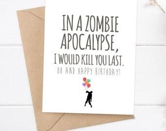 Greetigs etsy boyfriend card funny birthday card zombie card snarky greeting card zombie apocalypse m4hsunfo