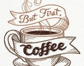 BUT FIRST COFFEE  on White Cotton Kitchen Tea Towel