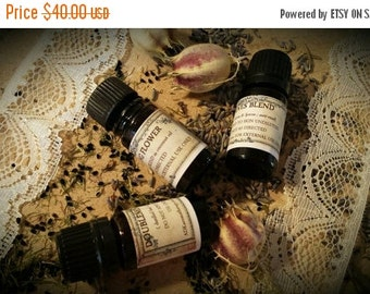 Flowers Aromatherapy Set. Essential Oils of Rose, Jasmine, Chamomile, Geranium and Ylang Ylang.