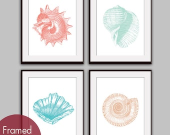 Underwater Sea Shell Collection (Series A1) - Set of 4 - Art Prints - (Featured in Coral Rose, Duck Egg, Ocean Blue and Ginger)