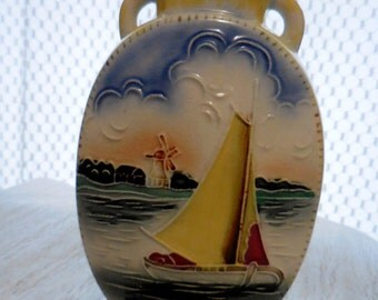 Italian Style Vase with Embossed Picture - Sailboat - Windmill - Barn - Blue Sky
