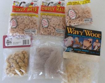 6 Pkgs Blonde Doll Hair Assorted Shades, Doll Making Supplies, Curly Hair