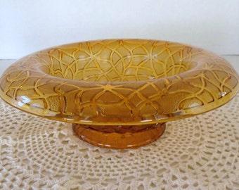 Amber Glass Bowl, Vintage Glass Bowl, Serving Bowl, Wedding Decoration, Centerpiece, Gift