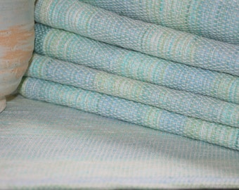 Caribbean Aqua Handwoven Placemats in Cotton/ Set of 6 Woven Place Mats in Green and Blue and Aqua