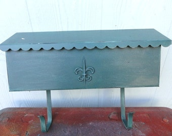 Vintage MailBox Green Architectural Mail Box Raised Fleur de Lis Worn Metaleathered Wall Mount