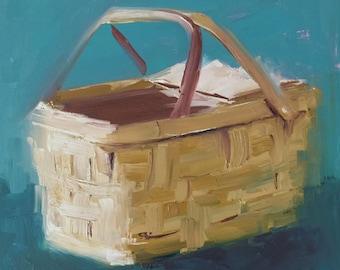 Wall Art, Food Art, Cooking Art, Baking Art, ORIGINAL OIL Painting, Kitchen Art, Market Art, Basket Art 'Picnic Basket' by AndolsekArt