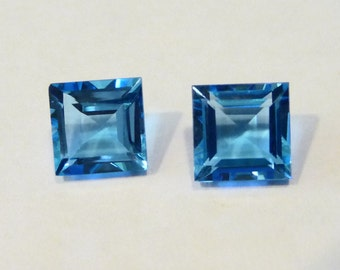 Swiss Blue Topaz Fancy Emerald Square Cut 4 1/2 CTS Matched Pair Gem Stones on Etsy by APURPLEPALKM