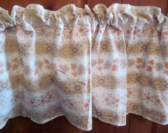 Vintage window treatment set of 2 kitchen curtains 1960s leaf autumn handmade vintage curtains home decor vintage curtains tan and white