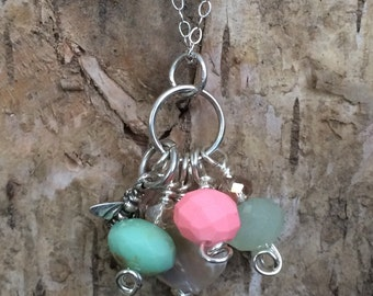 Pink and aqua bee necklace