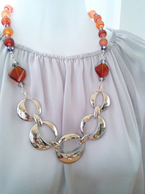 Silver chain necklace, chunky silver necklace, Amber necklace, boho necklace, Amber bead necklace, chunky bead necklace