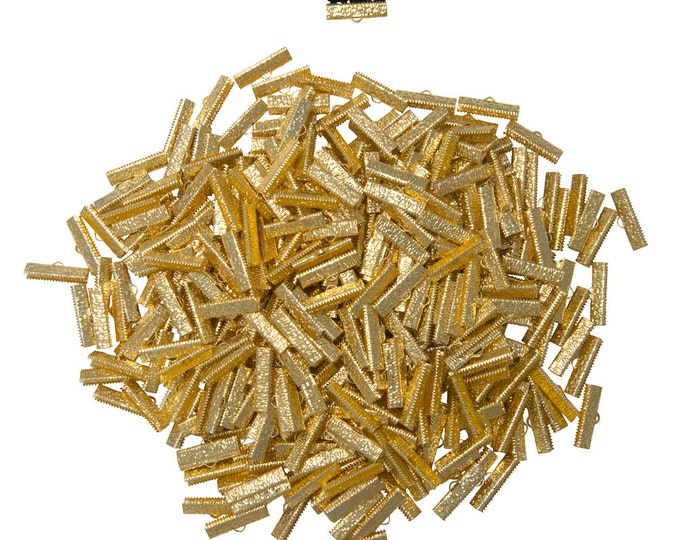 500pcs.  25mm (1 inch)  Gold Ribbon Clamp End Crimps - Artisan Series