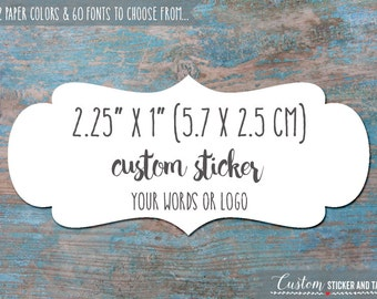 "24 custom stickers fancy bracket shape 2.25"" x 1"" personalized stickers, custom labels, envelope seals, custom wedding stickers (S-126)"