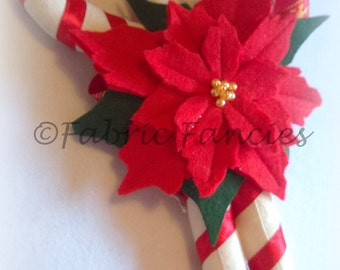 Felt scented large candy canes christmas ornament decoration