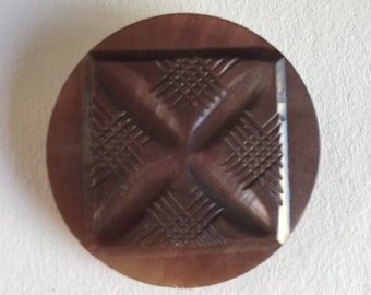 Vintage Carved  Shell Button  with Metal Loop Shank- 1