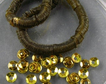 Vintage Faceted Slightly Cupped Sequins -  3mm Gold Metallic with hint of Green