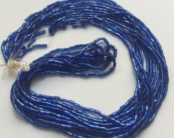 Vintage European  Glass Bugle  Beads - Blue Silver Lined
