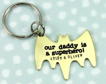 Daddy is a Superhero Keyring - Bat Keyring - Father Son Keyring - gift for him - superhero fan gift - father's day gift - Superhero