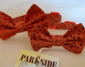 Orange with Brown Dot Bow Tie Collar for Cats