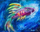 Original acrylic painting From the Deep - Original Art - funny fantasy fish painting - modern artwork