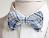 Bow Tie, Mens Bow Tie, Bowtie, Bow Ties, Bowties, Groomsmen Bow Ties, Wedding Bow Ties, Ties - Organic Madras Pale Pink And Navy Plaid