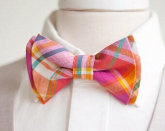 Bow Tie, Mens Bow Tie, Bowtie, Bowties, Bow Ties, Bowties, Groomsmen Bow Ties, Wedding Bow Ties, Ties - Fuchsia, Orange, Teal Organic Plaid