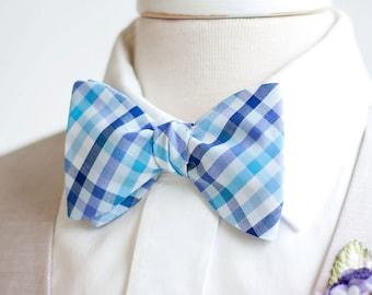 Bow Ties, Bow Tie, Bowties, Mens Bow Ties, Freestyle Bow Ties, Self-Tie Bow Ties, Groomsmen Ties - Navy, Aqua, Purple Organic Madras Plaid