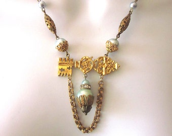 Vintage Assemblage Necklace with Pearls and Key
