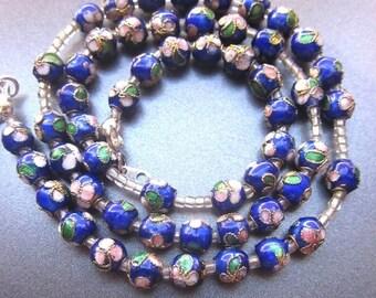 SALE Cloisonne Beaded Necklace Cobalt Blue Enamel Floral Jewelry