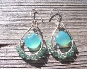 Peruvian blue chalcedony and green apatite sterling silver wire wrapped hoop earrings