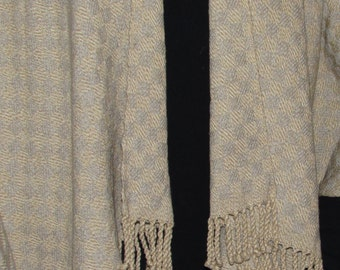 Cape/Shawl coat - oatmeal/gray - hand woven - cotton