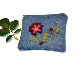 Zippered pouch blue applique embroidery purple green red  flower