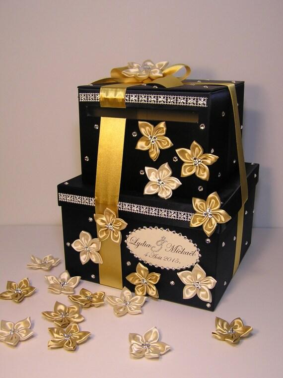 Gold Wedding Gift Card Holder : Wedding Card Box Navy Blue,Gold and Cream 2 tier Gift Card Box Money ...
