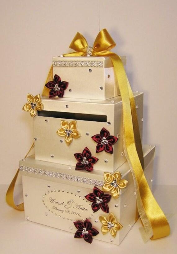Wedding Gift Card Box Gold : Wedding Card Box Ivory ,bergundy and Gold Gift Card Box Money Box ...