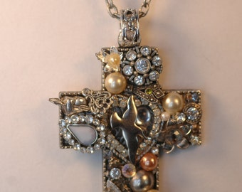 Vintage Jewelry Collage Cross Necklace , Jewelry Art Necklace