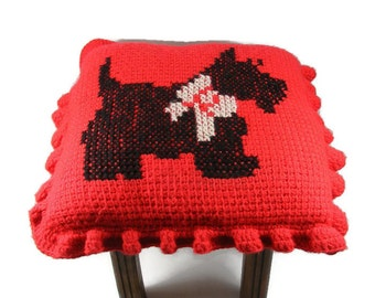 Scotty Dog Footstool Red Pillow Topped Ottoman Wooden Footstool