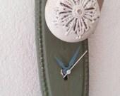 door knob clock- ooak- mixed media- one of a kind-whimsical-pendulum clock-shabby chic green oval, white door knob