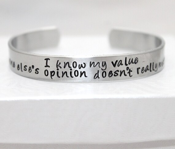 I Know My Value, hand stamped aluminum cuff bracelet, carter, motivational jewelry, geek jewelry, geeky bracelet