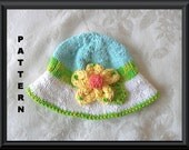 Knitted Hat Pattern Baby Hat Pattern Newborn Hat Pattern Infant Hat Pattern Knit Hat with Flowers children clothing: SUNNY SIDE UP